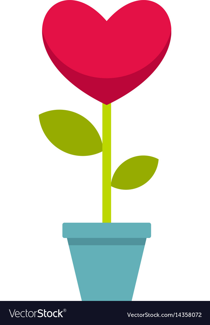 Pink heart flower in a pot icon isolated