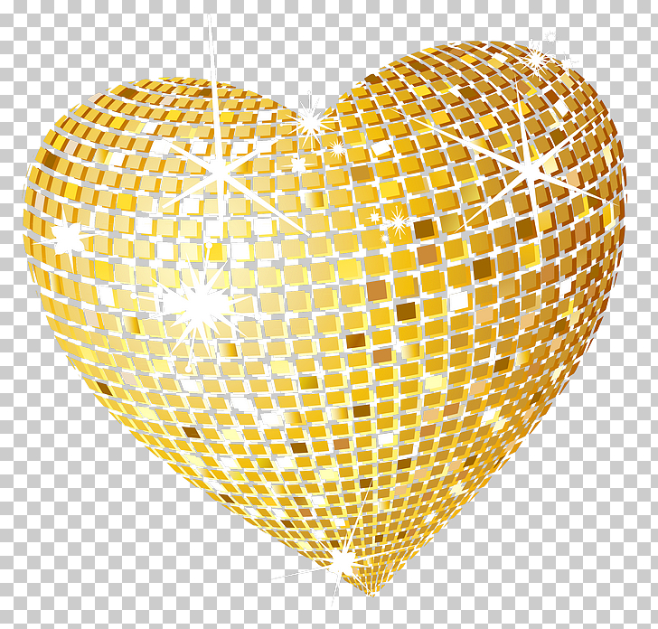Gold Disco Heart , gold heart PNG clipart