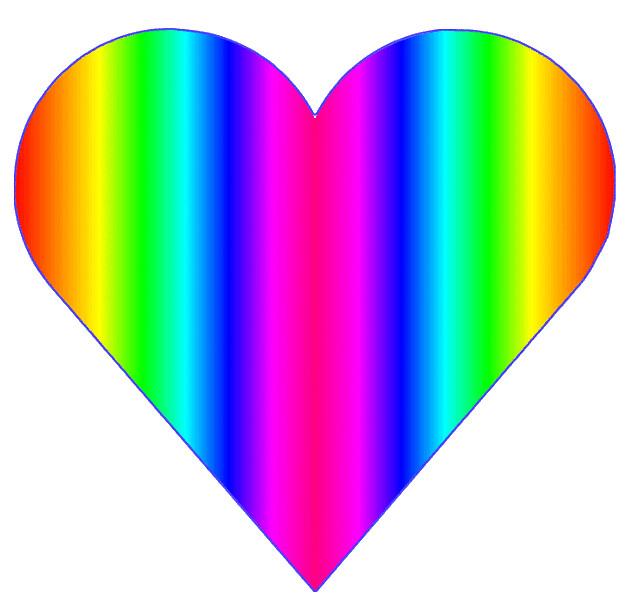 Rainbow heart 10cm.