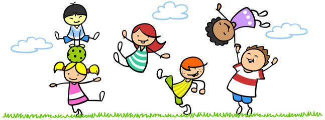 Spielende kinder im kindergarten clipart