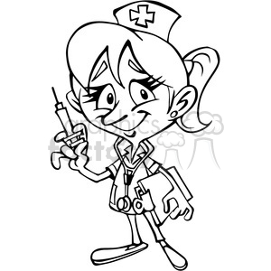 Female nurse cartoon.