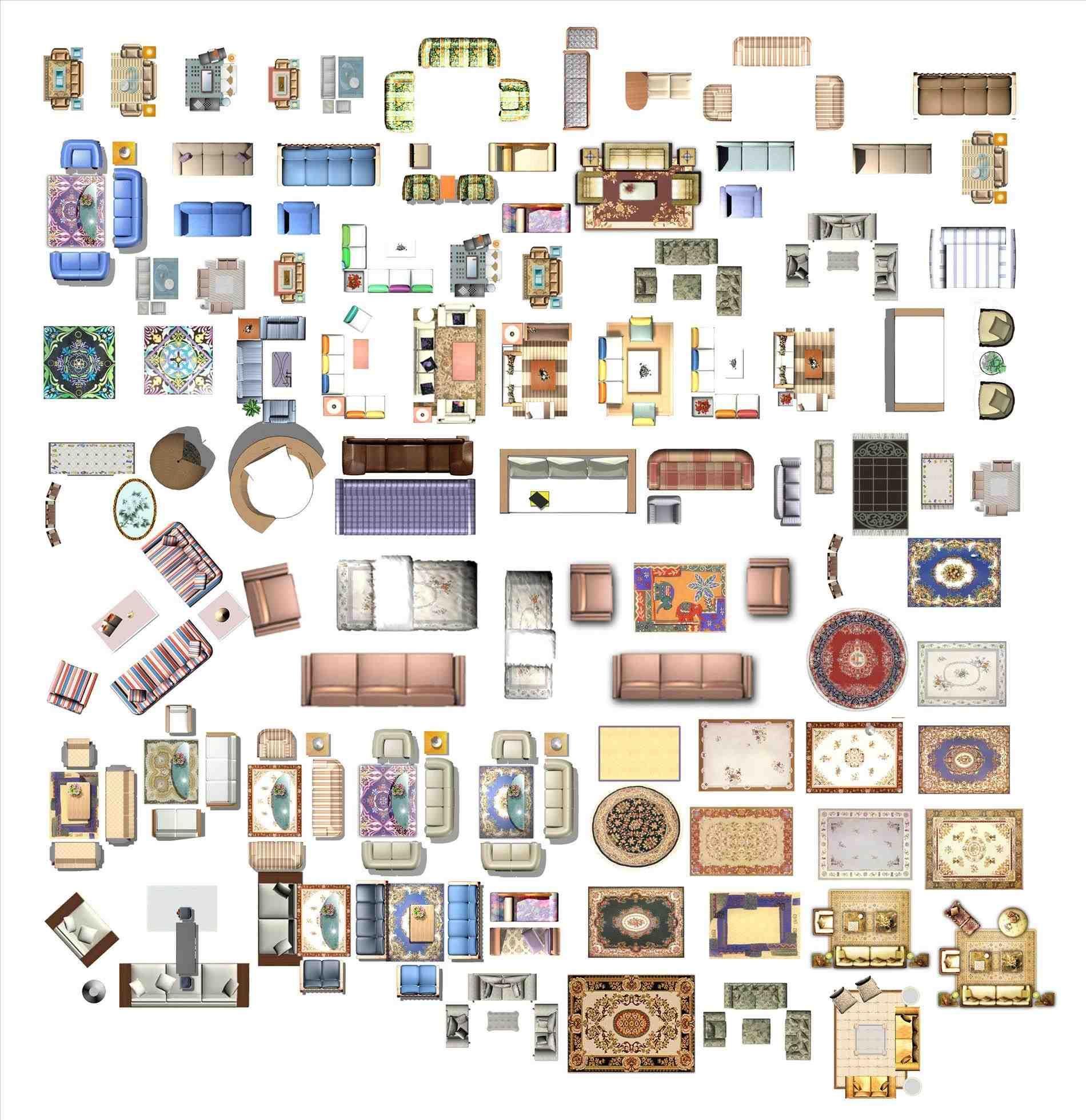 Clipart of furniture floor plan.