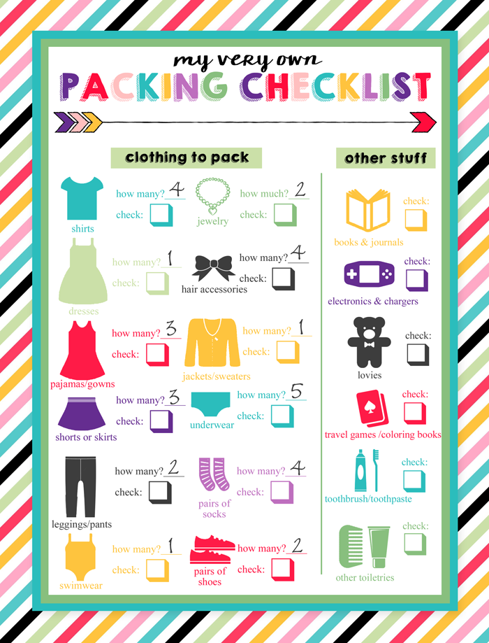 clipart pack camping list
