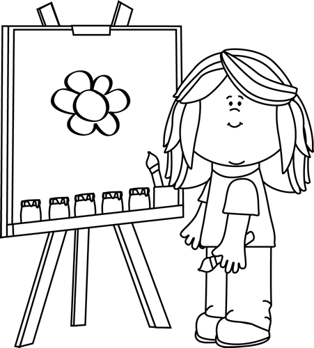 art clipart black and white painting