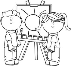 art clipart black and white preschool