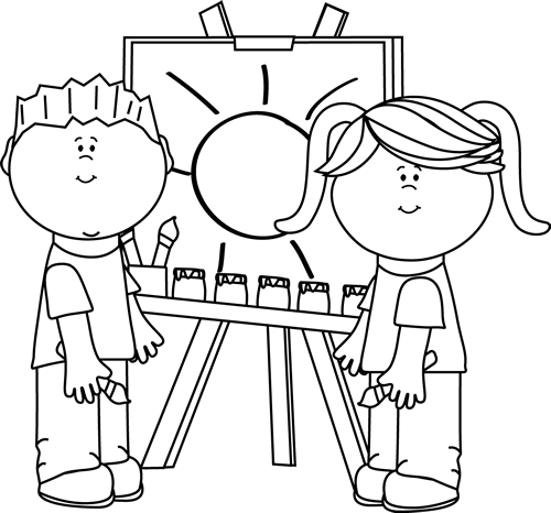 art clipart black and white easel