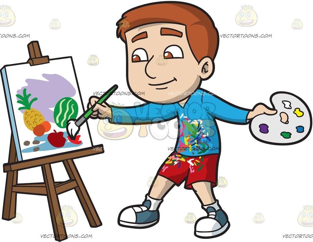 Boy painting still.