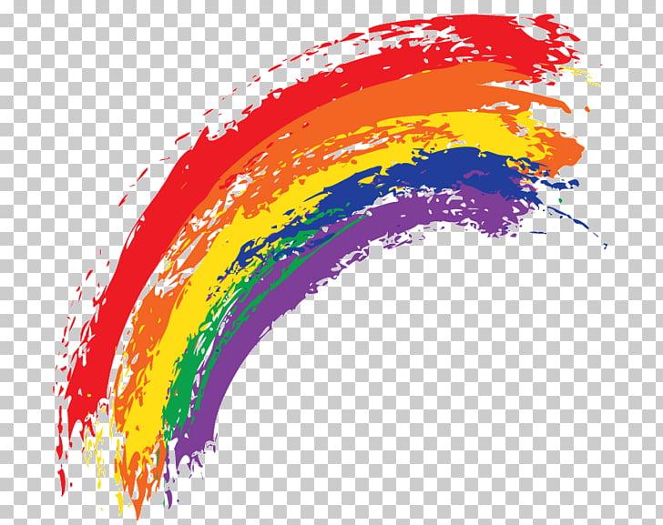Watercolor painting rainbow.