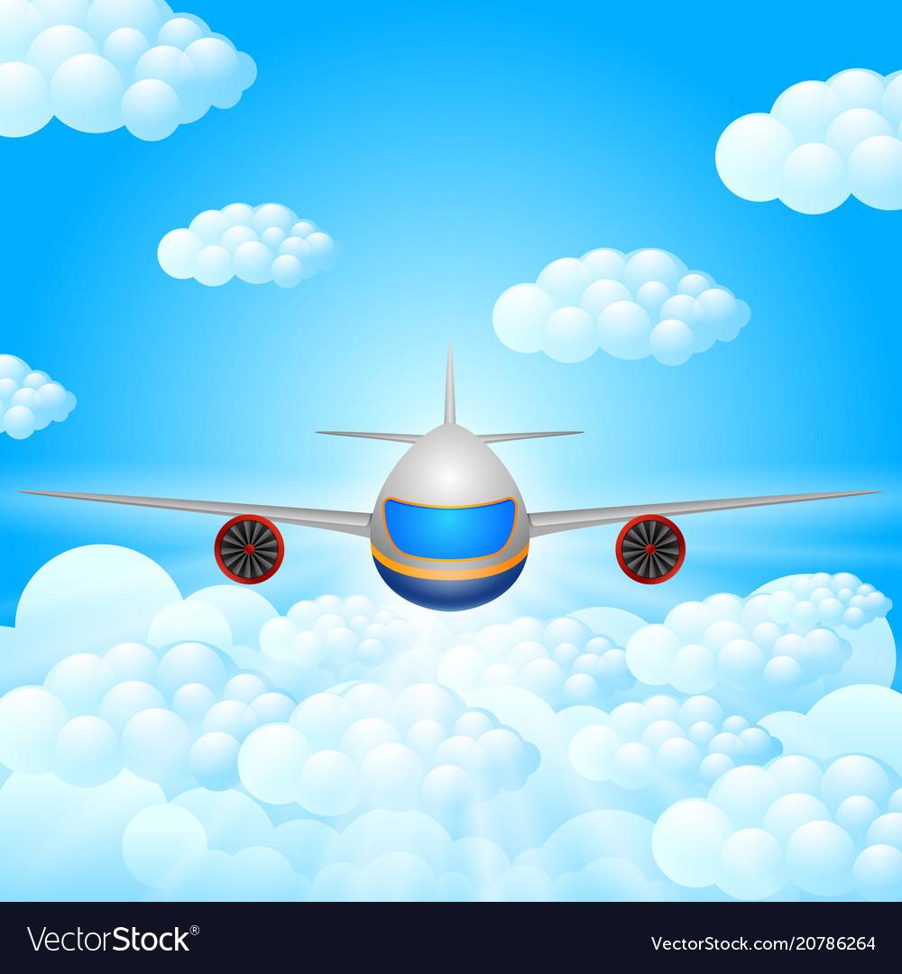 Plane blue sky.