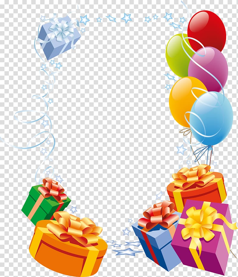 Gifts and balloons.