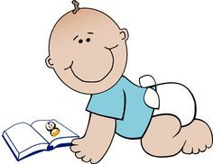 Baby reading books clipart