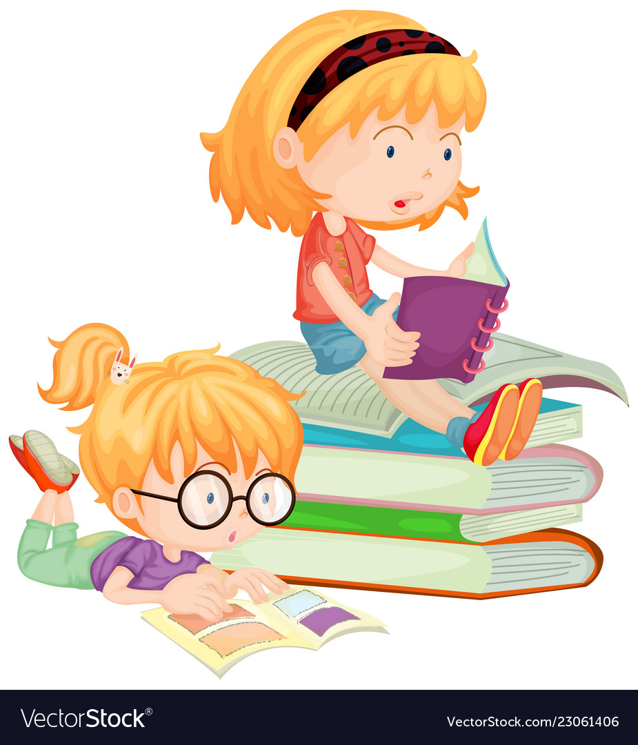 Two children reading.