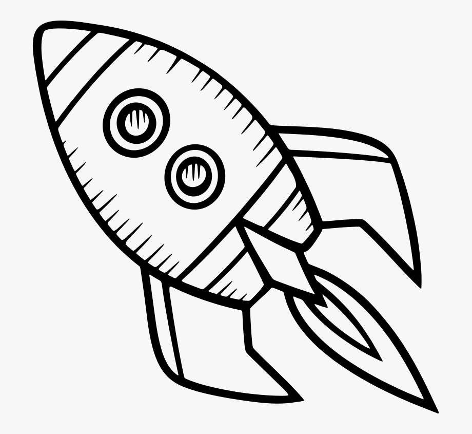Spacecraft drawing rocket.