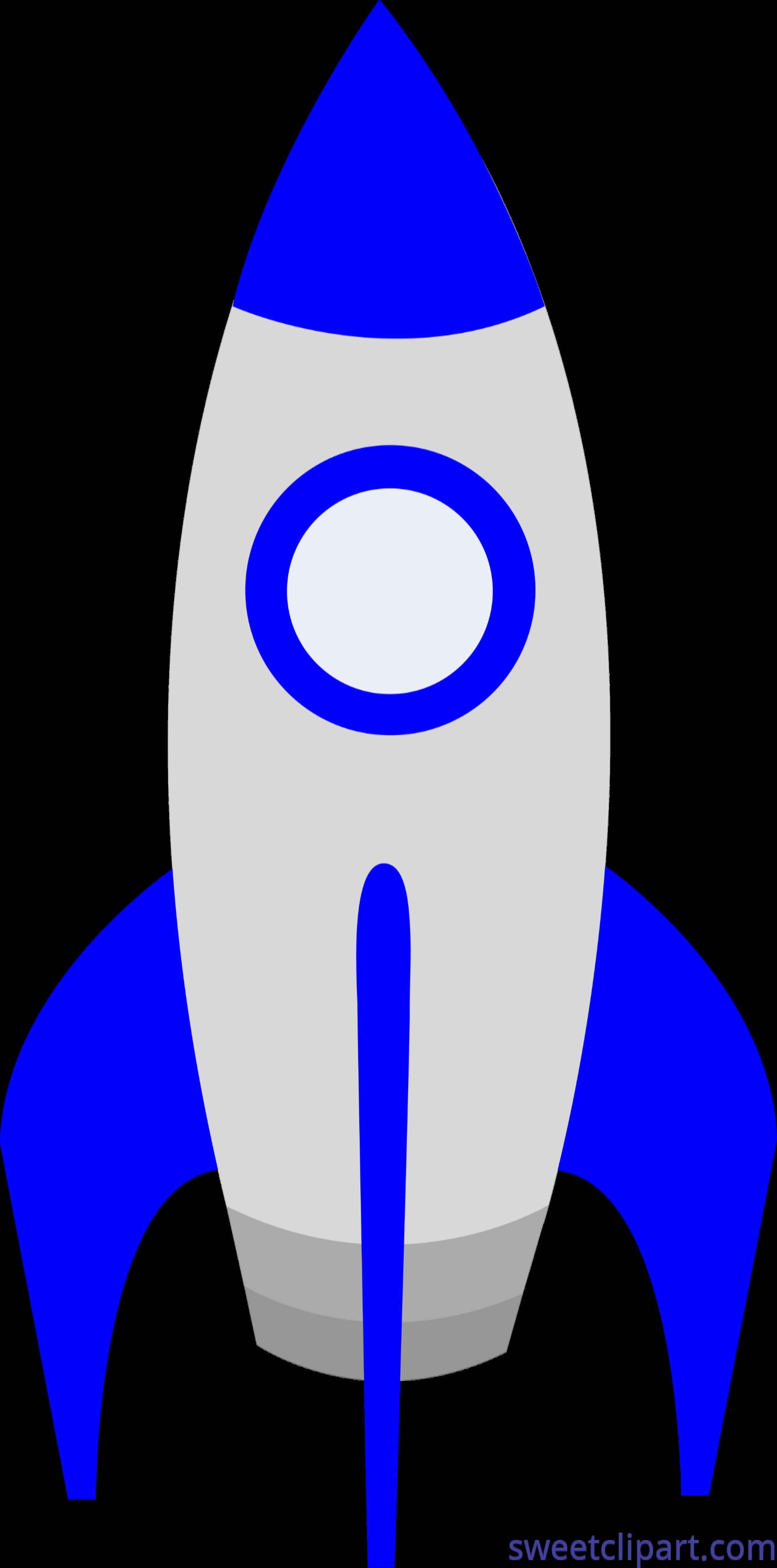 Cute blue rocket.