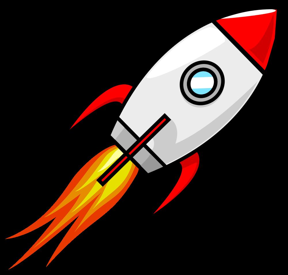 Cartoon moon rocket.