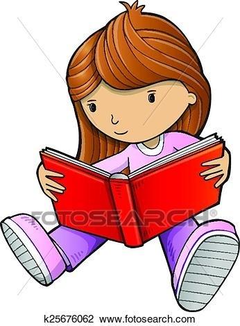 Clipart Of Girl Reading Book Sketch Vector Art K