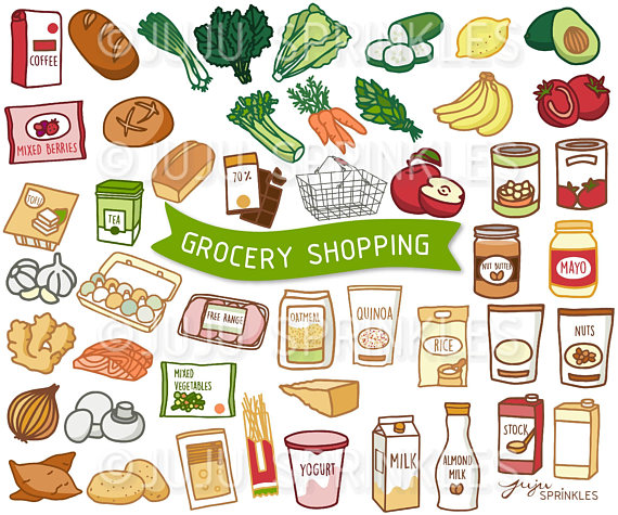 Grocery Clipart, Vegetable Clipart, Food Illustrations