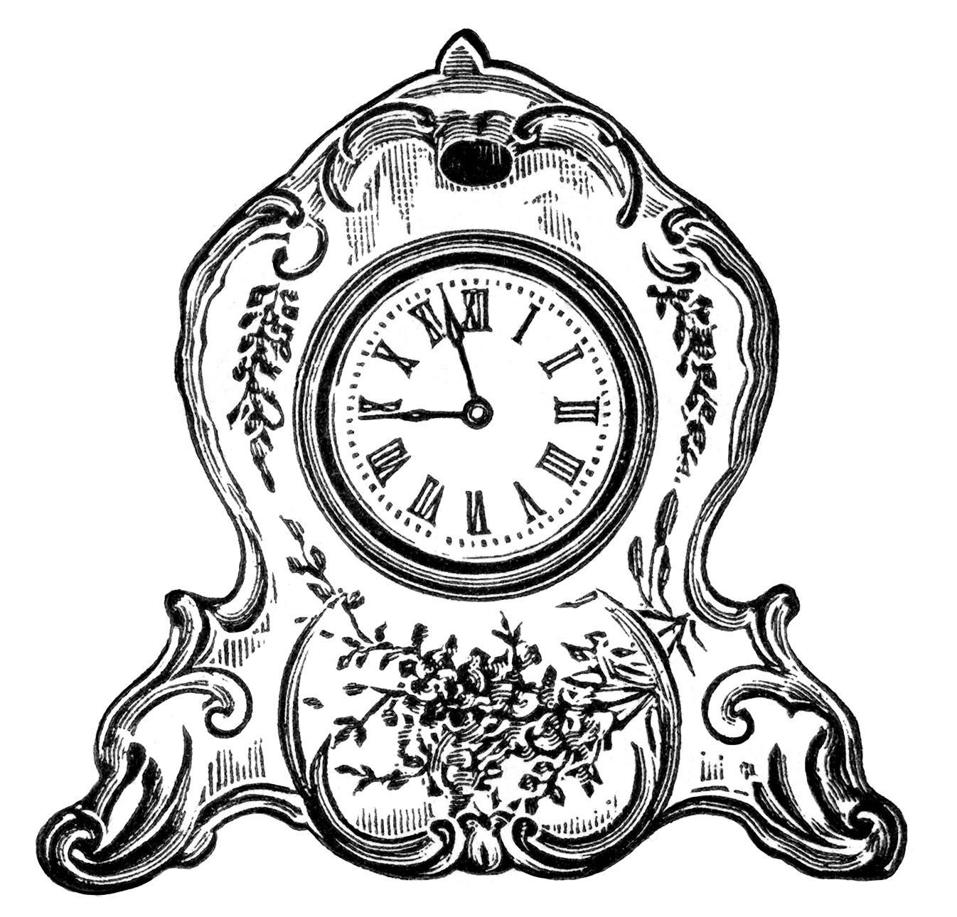 Vintage clock clipart.