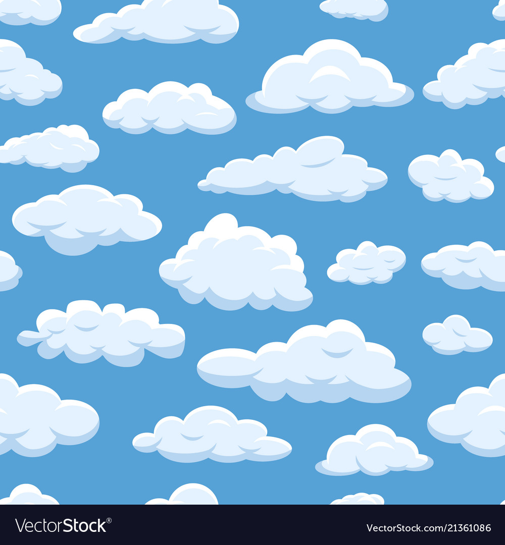 Clouds seamless pattern on blue sky background