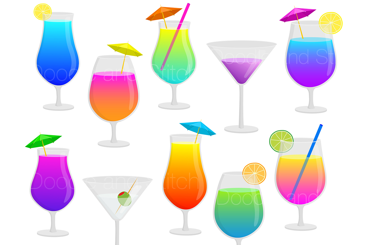 Cocktail Drinks Clipart Illustrations