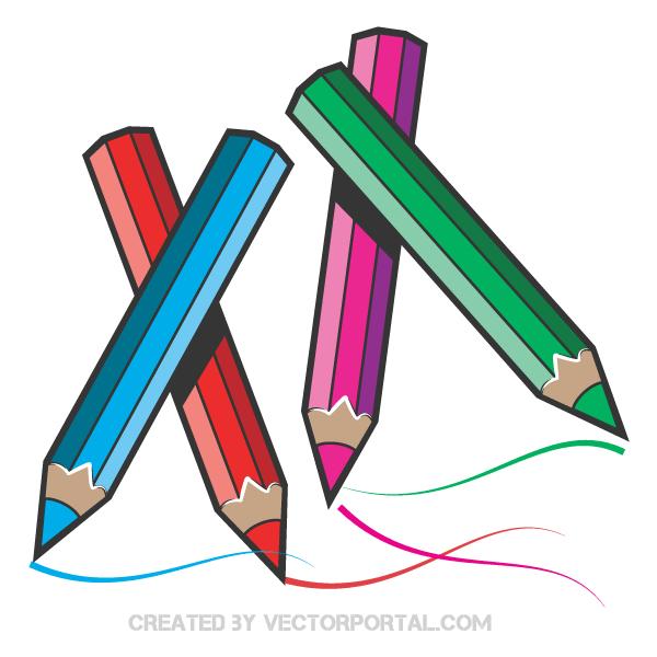 Color Pencils Vector Art