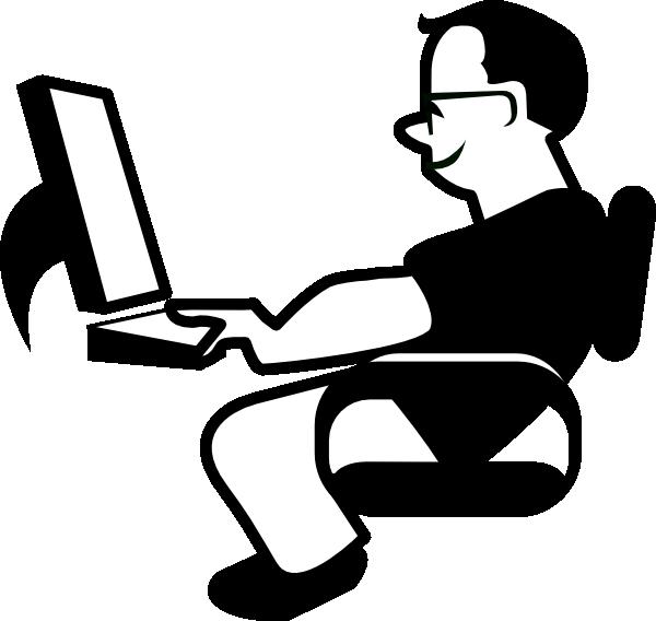 Man using computer.