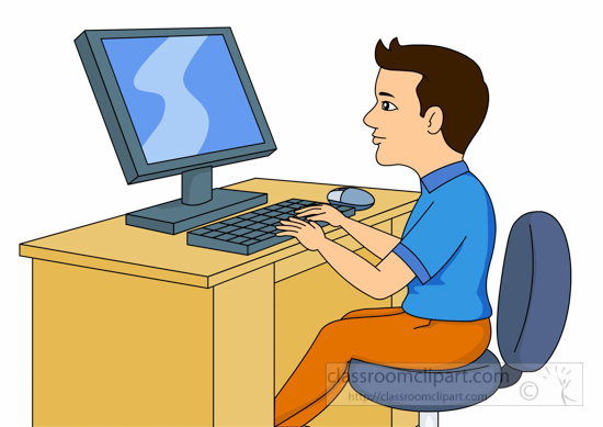 Computer person sitting.