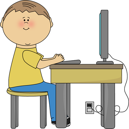 Student using computer.