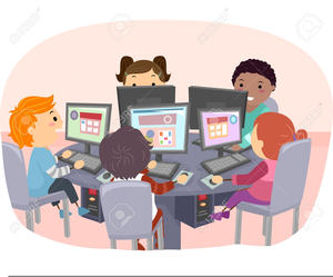 Students using computers.