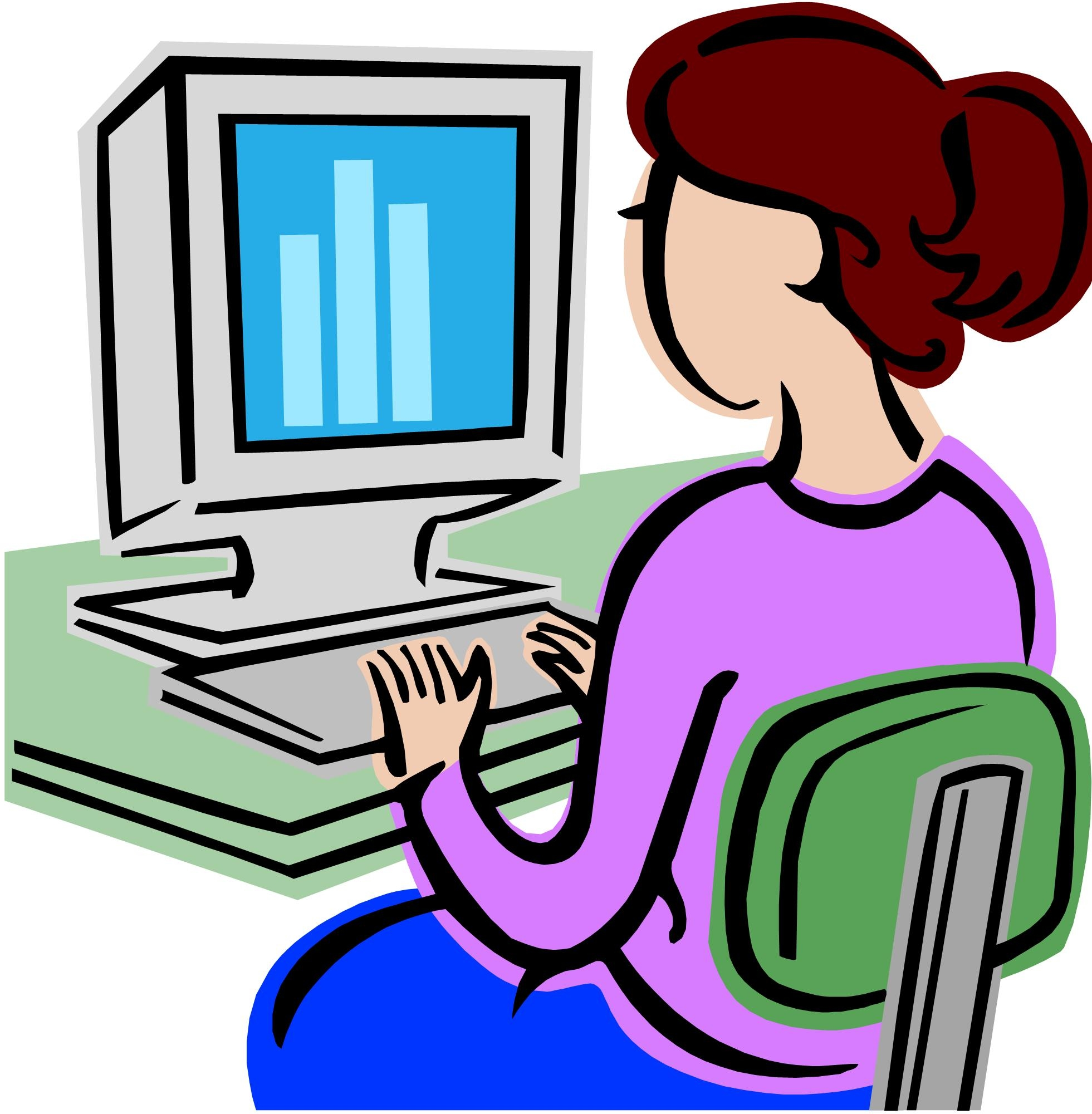 Typing computer clipart.