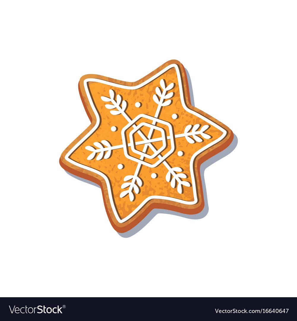 Gingerbread snowflake cookie.