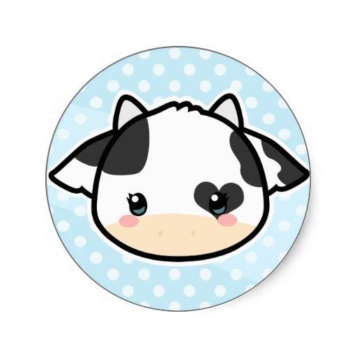 Kawaii cow sticker.