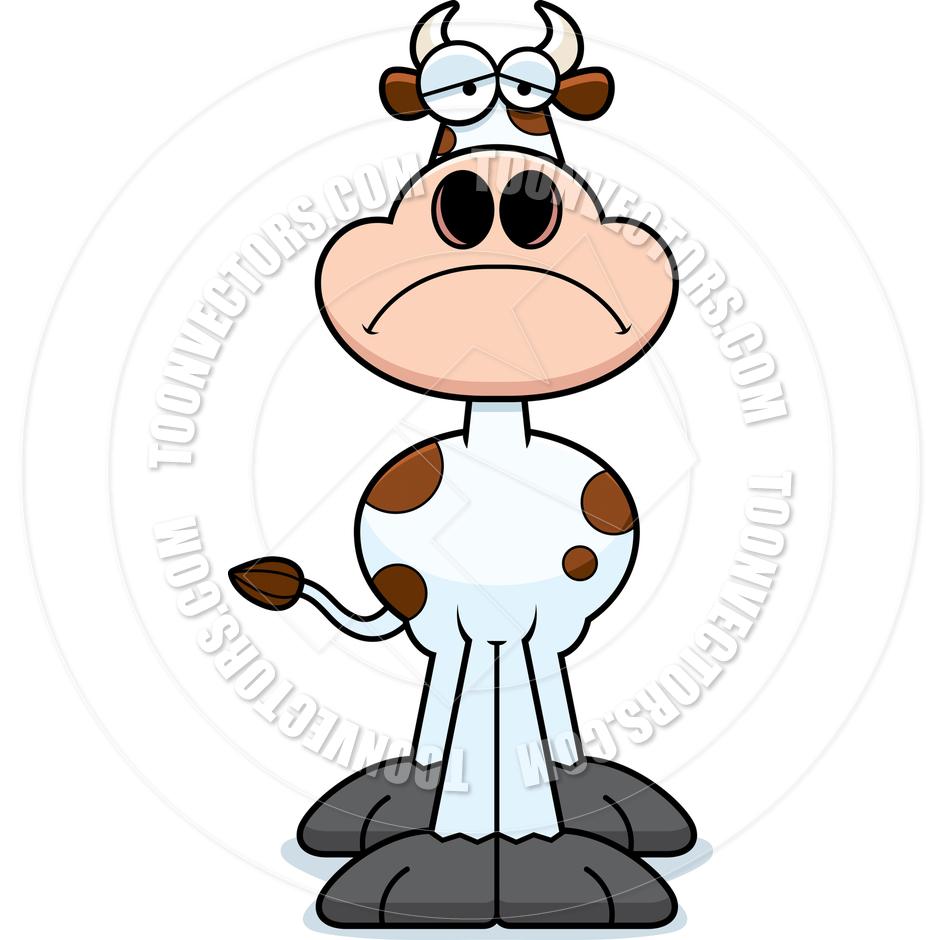 Sad cow vector.
