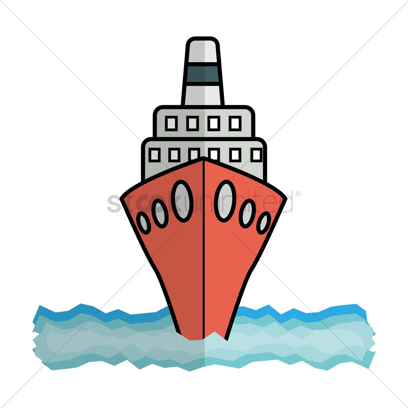Free Cruise ship front view Vector Image