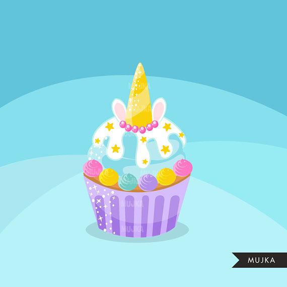 Unicorn cupcake clipart.