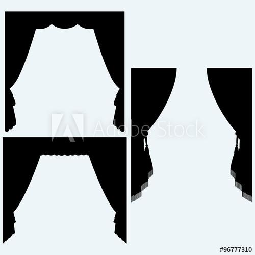 Set of silk curtains open