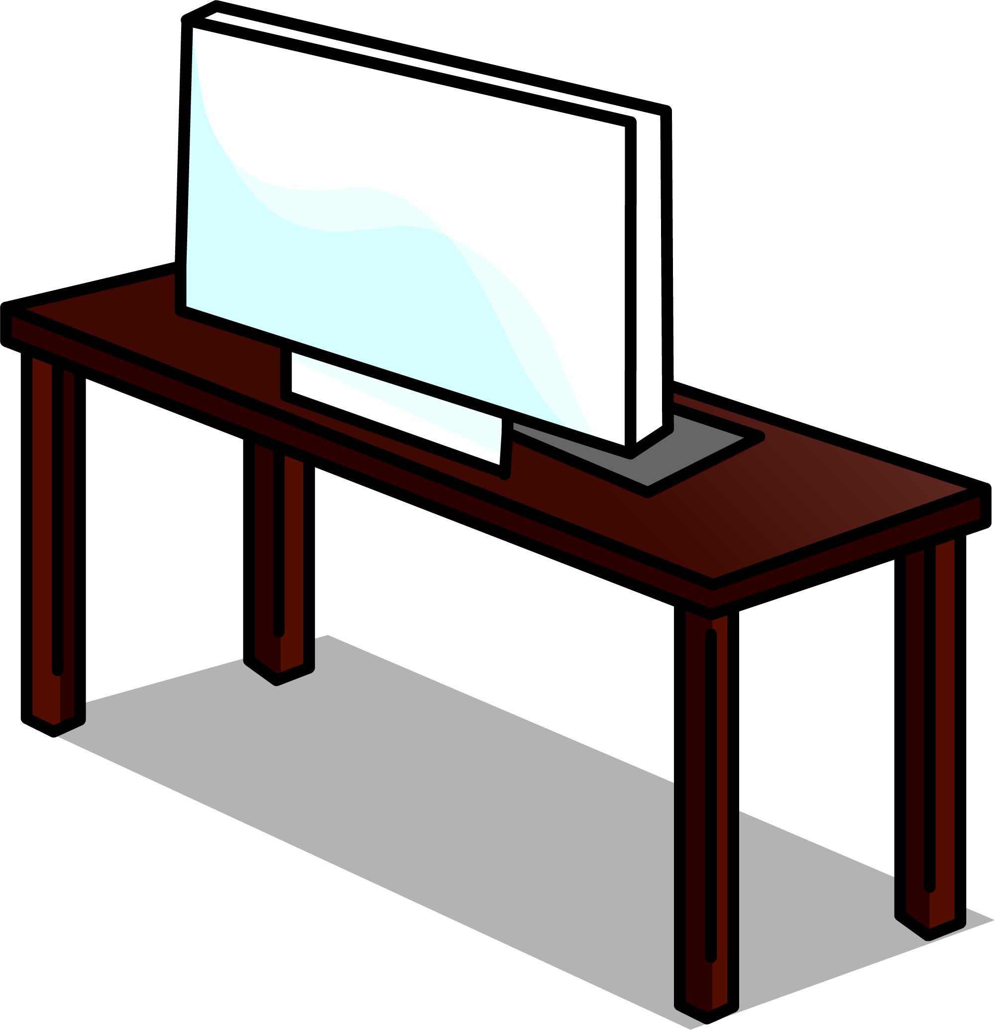 Desk clipart table monitor, Desk table monitor Transparent