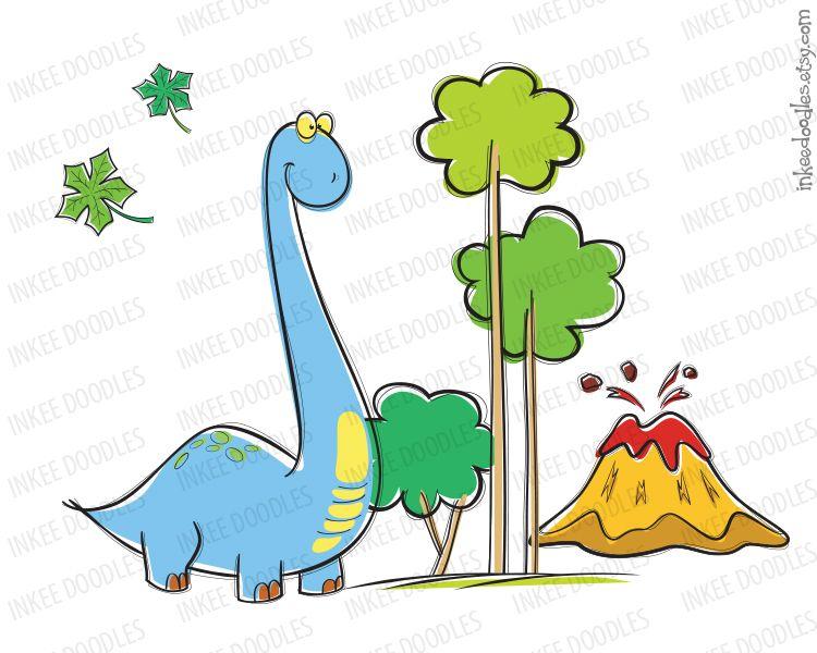 Cute brachiosaurus dinosaur.