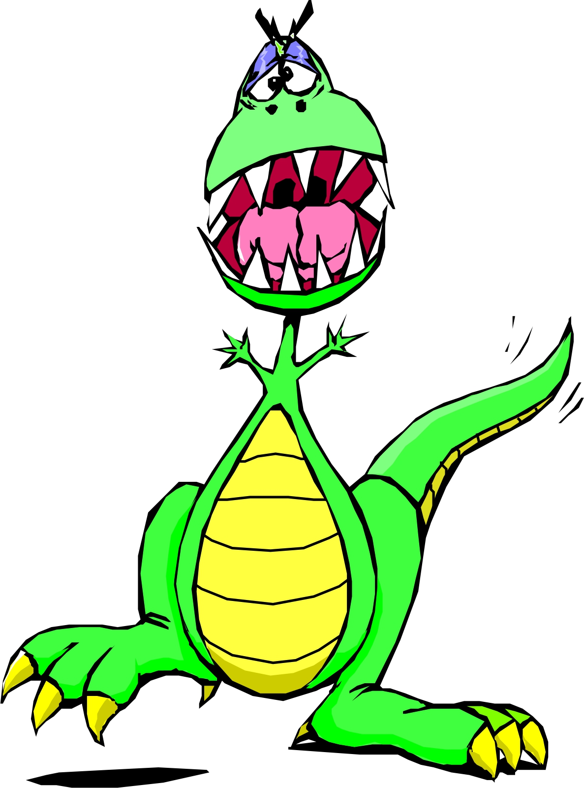 Scary cartoon dinosaur.
