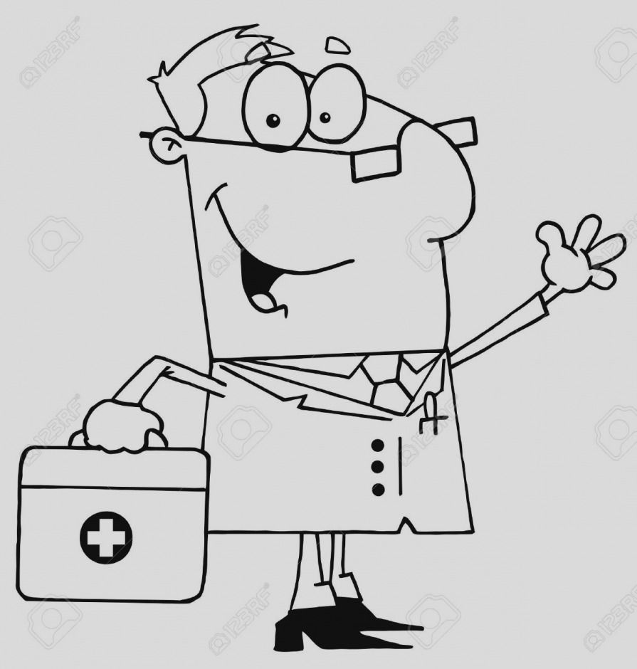Doctor clipart black and white line art.