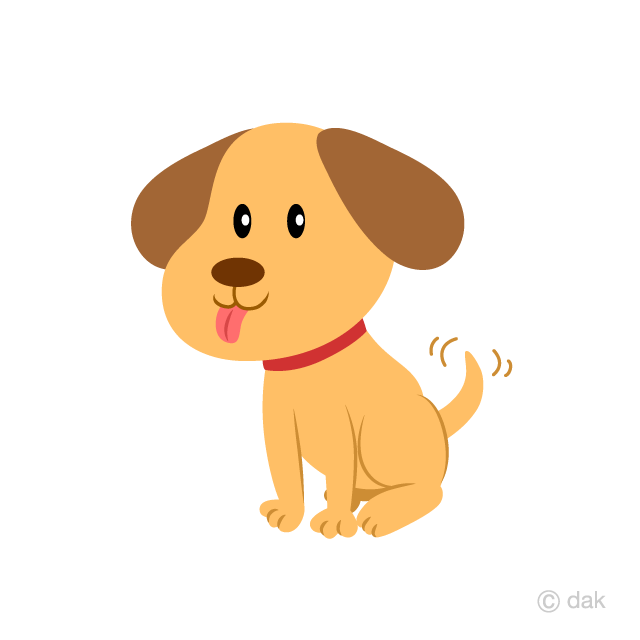 Cute Puppy waving a tail Clipart Free Picture