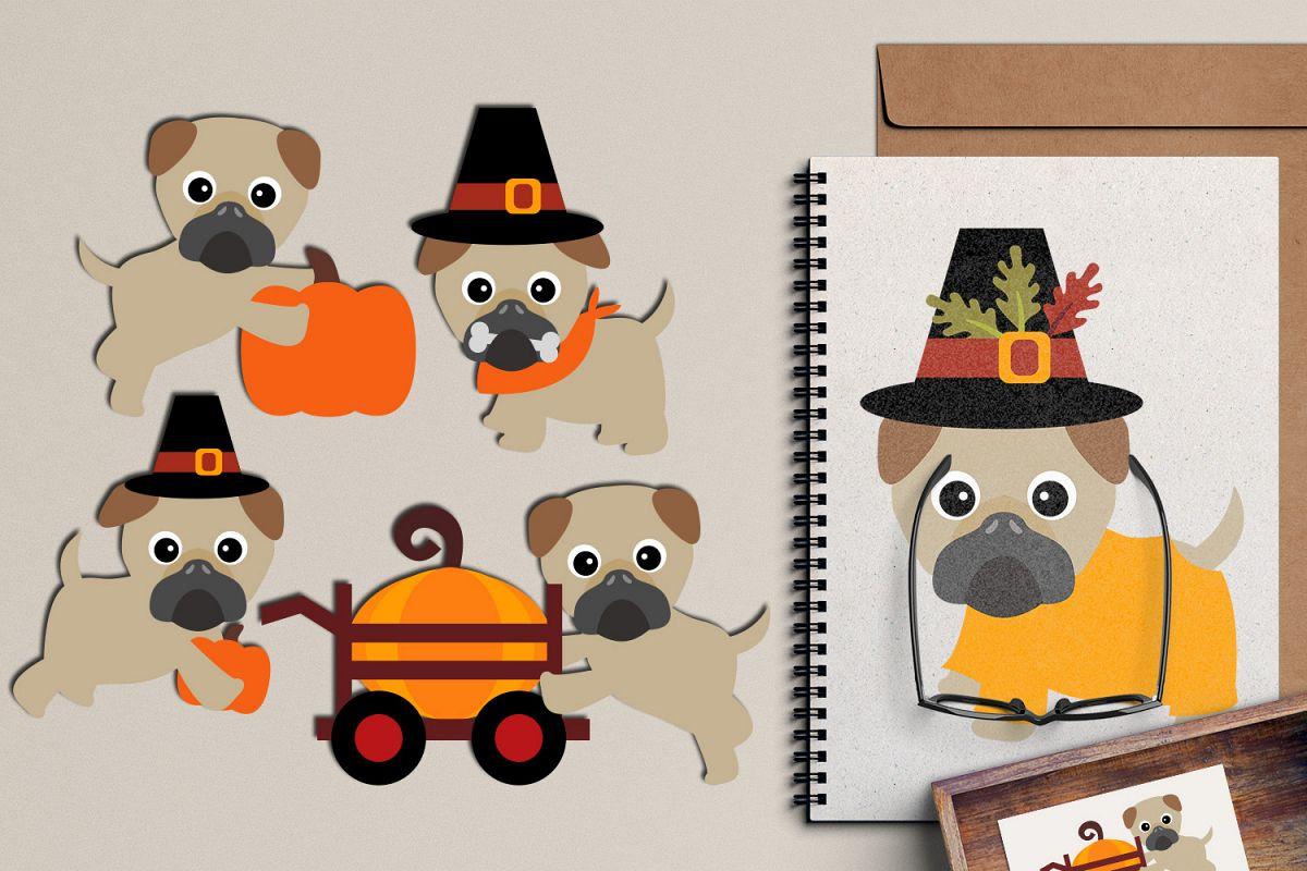 Thanksgiving Pugs clipart graphic, cute pug dog pet clip art