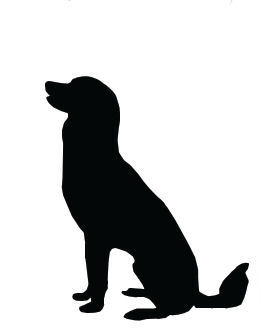 Silhouette Clip Art Large Dog Sitting