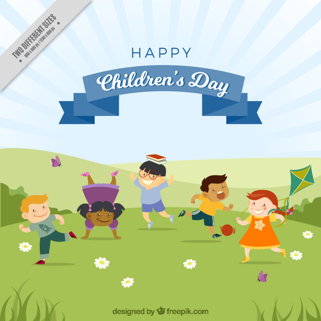 Background of lovely children playing in the park Vector