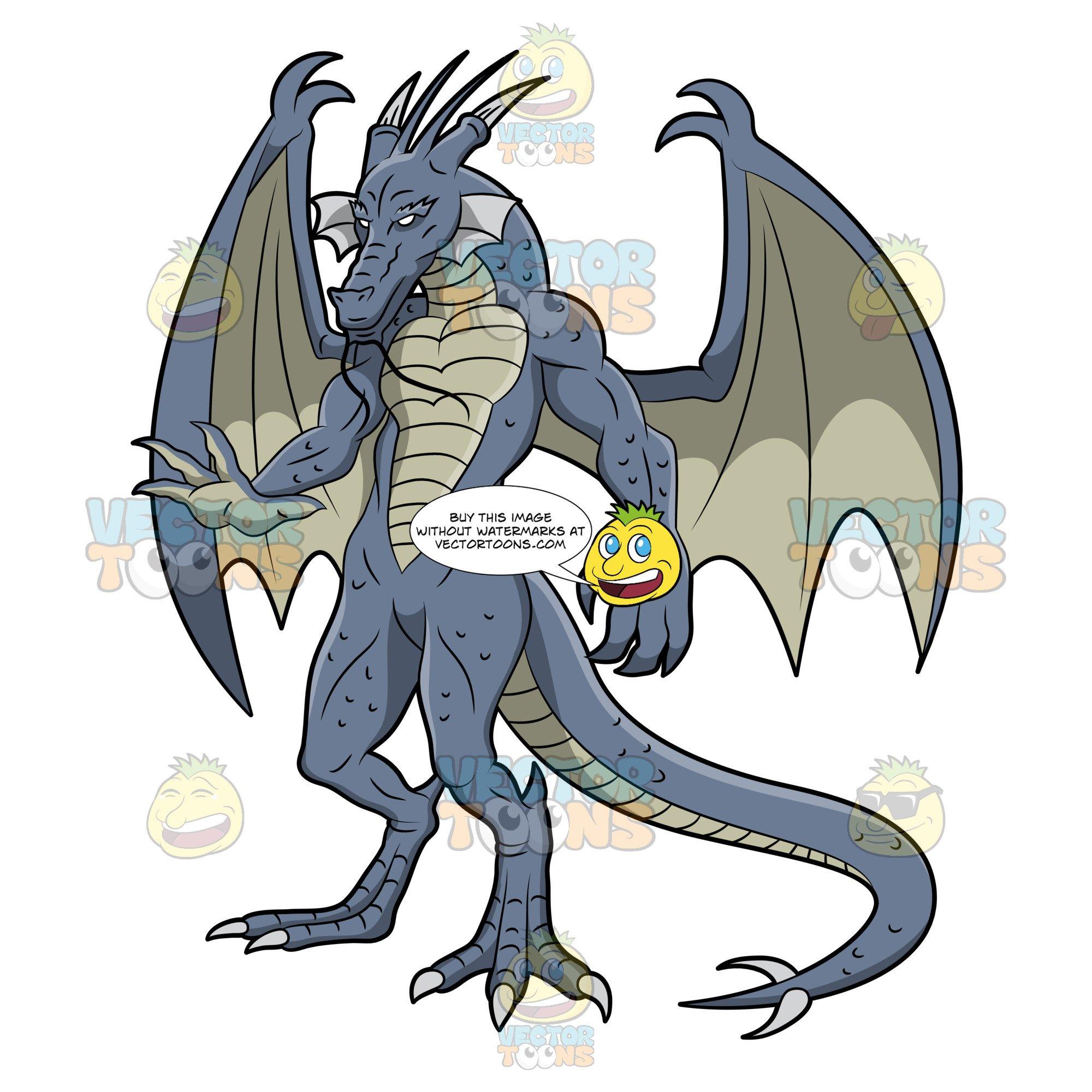 Scary blue dragon.