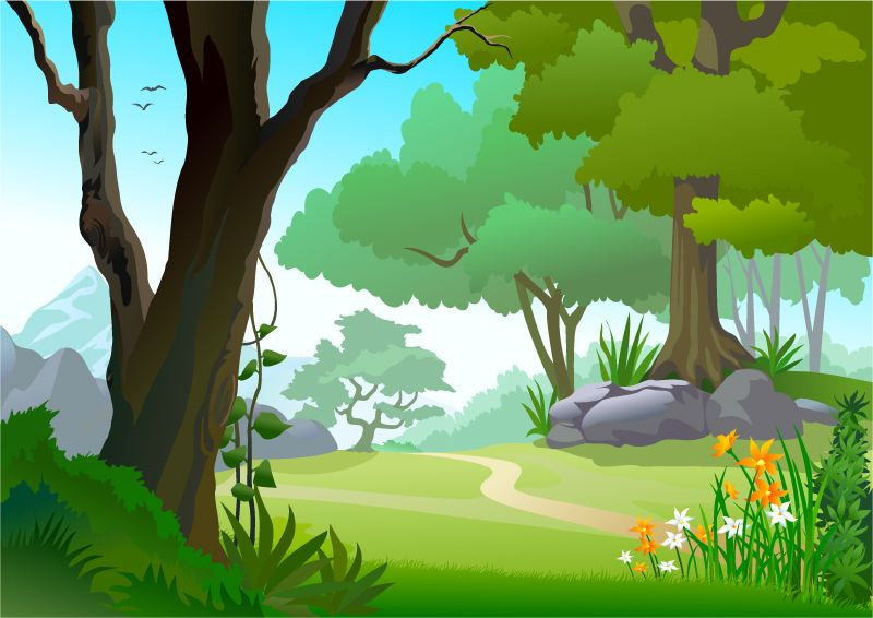 Forest background clipart drawing. The path vector illustration