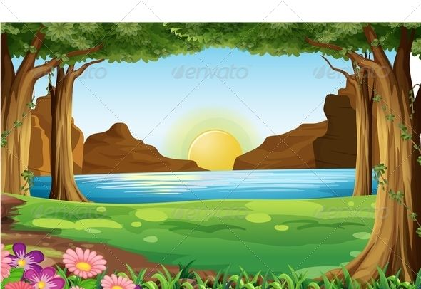 Forest background clipart drawing. River in the pond