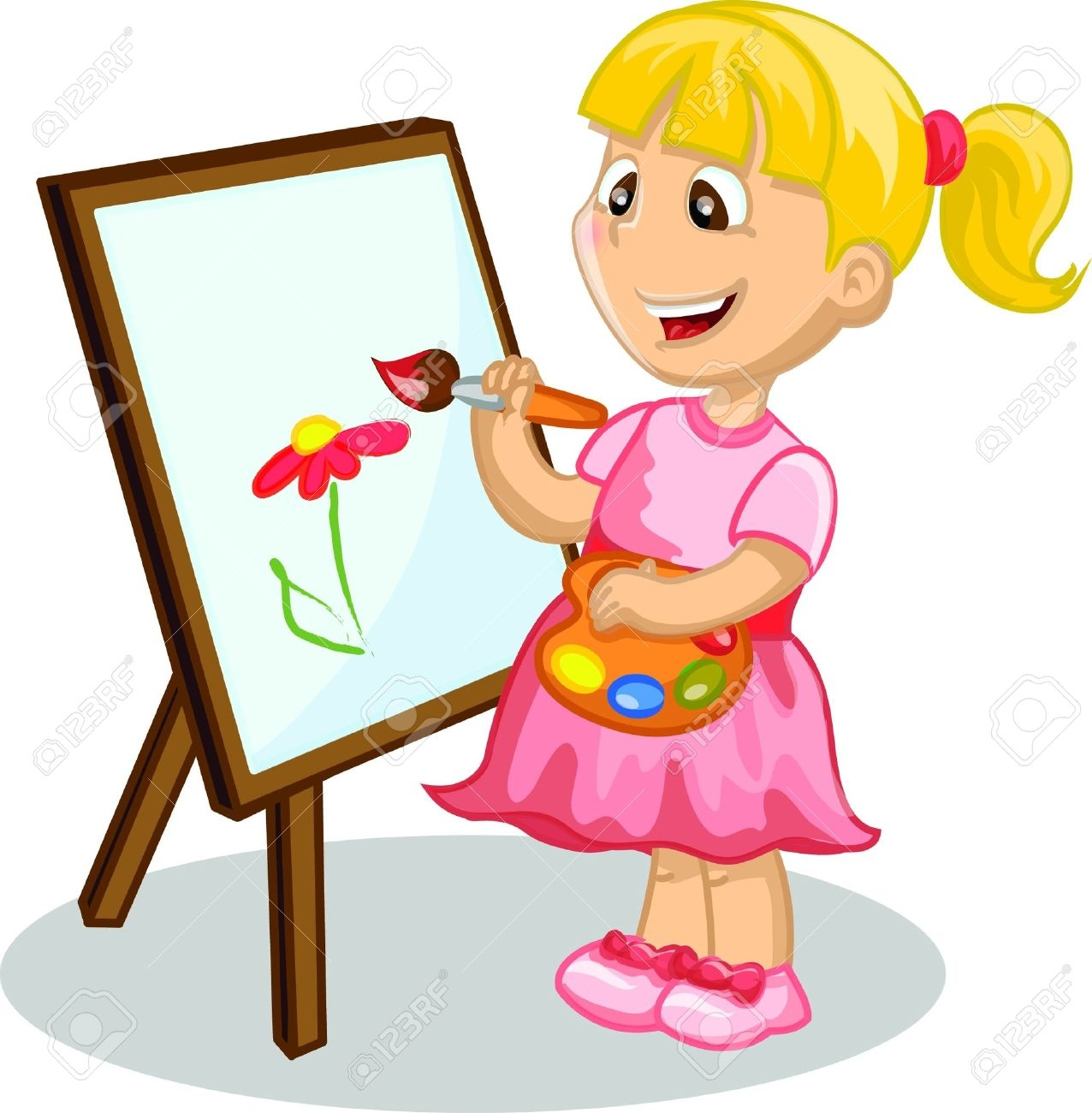 Girl drawing clipart