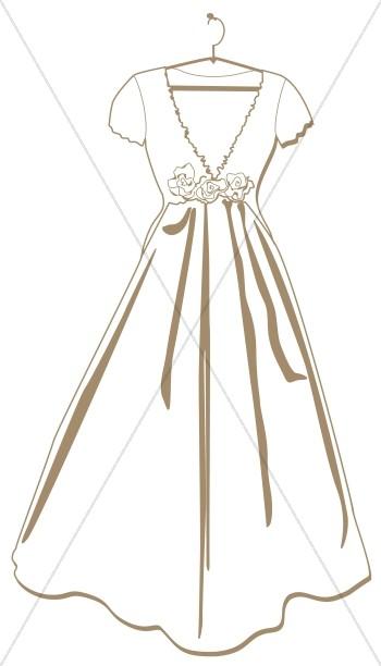 Simple bridal dress.