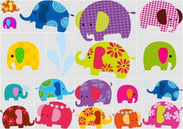Cute colored elephants.